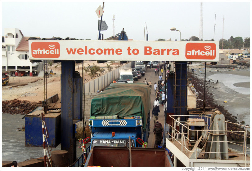 "Ferry sign: ""Welcome to Barra""."