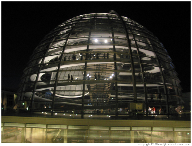 The Reichstag dome, filled with people.
