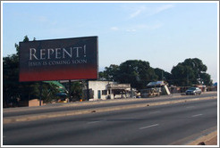 Billboard reading Repent! Jesus is Coming Soon.