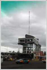 Boat-shaped building housing a radio station.