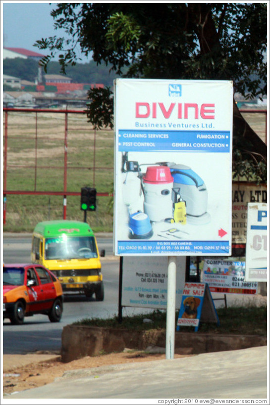 Sign advertising Divine Business Ventures which provides cleaning and pest control services.