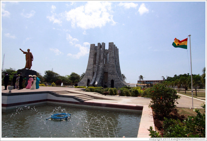 Fountain and mausoleum. Kwame Nkrumah Memorial Park.