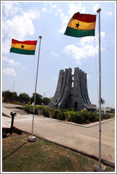 Mausoleum and flags. Kwame Nkrumah Memorial Park.
