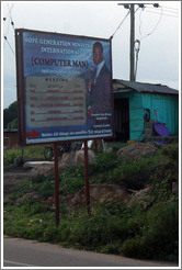 Billboard advertising Prophet Eric Kwesi Amponsah, a.k.a. Computer Man.