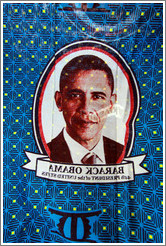 Barack Obama's image printed onto a textile.