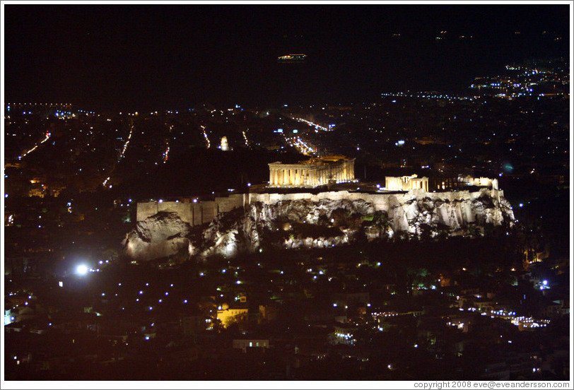 The Acropolis (Ακρόπολη) at night, viewed from Mount Lycabettus (Λυκαβηττός).