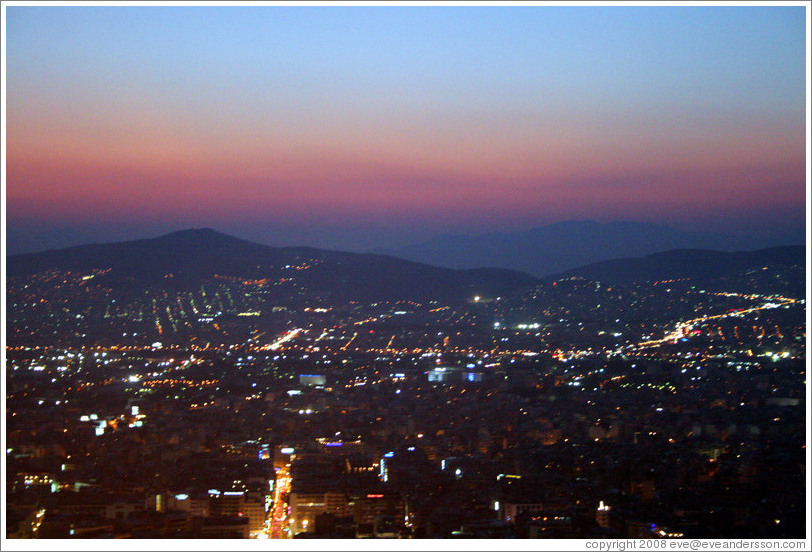 Athens viewed from Mount Lycabettus (Λυκαβηττός) at sunset.