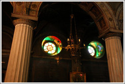 Light shining through stained glass windows.  Church of Aghia Irene (Αγία Ειρήνη).