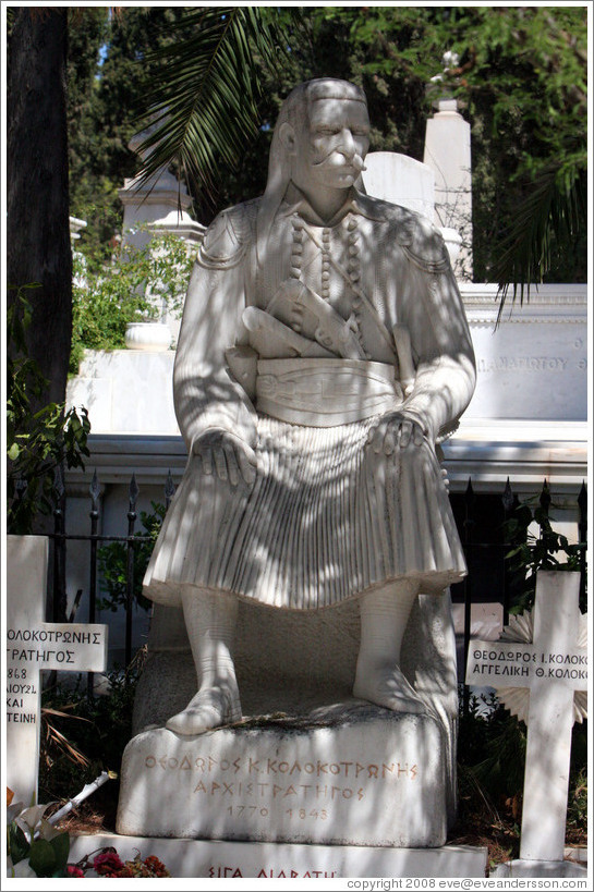 The grave of General Theodoros Kolokotronis (Θεόδωρος Κολοκοτρώνης) at the First Cemetery of Athens (Πρώτο Νεκροταφείο Αθηνών).