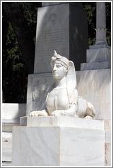 Sphinx-like figure.  The First Cemetery of Athens (Πρώτο Νεκροταφείο Αθηνών).