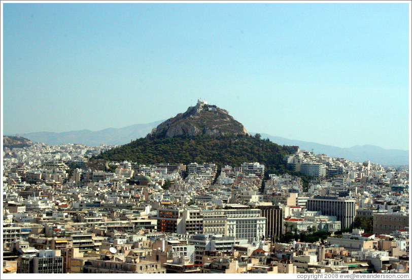 Mount Lycabettus (Λυκαβηττός), viewed from the Acropolis (Ακρόπολη).