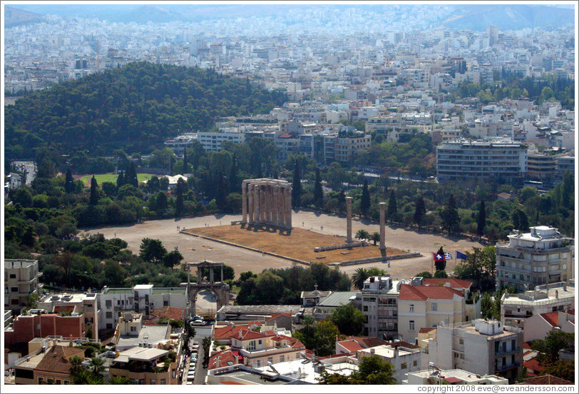 Temple of Olympian Zeus (Ολυμπίου Διός), viewed from the Acropolis (Ακρόπολη).