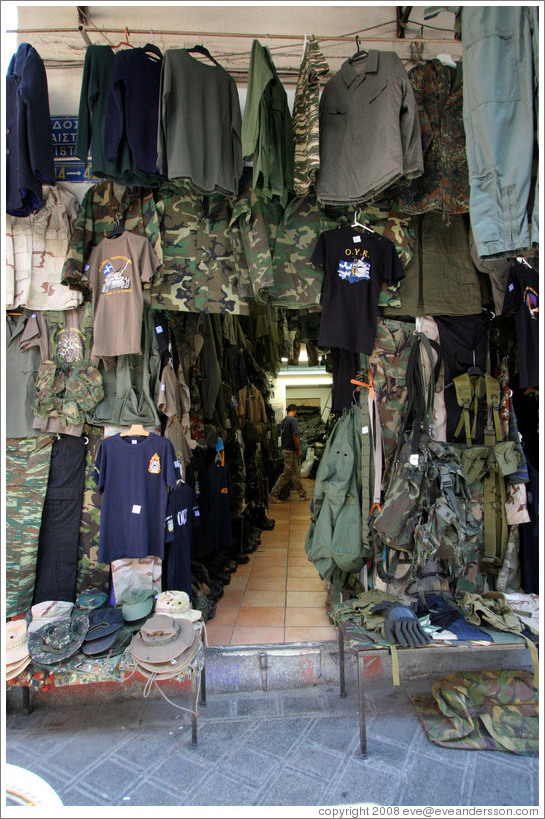 Flea market in the Monastiraki (Μοναστηράκι) neighborhood.  This market seems to have a preponderance of camouflage clothing.