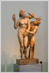Statue of Aphrodite, Eros, and Pan from 180 AD. National Archaeological Museum.