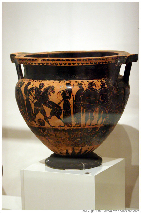 Black figure column krater depicting Herakles and the Nemean Lion from 550-540 BC.  National Archaeological Museum.