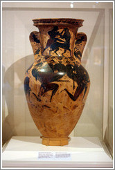 Attic black figure funerary amphora depicting the myth of Perseus beheading Gorgon Medusa from 620-610 BC.  National Archaeological Museum.