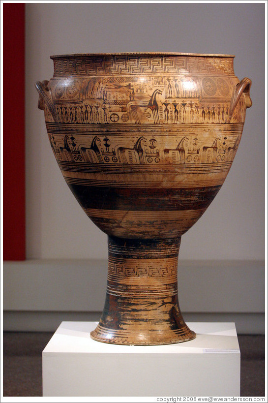 Attic late geometric krater depicting ekphora, the act of carrying a body to its grave, by the Hirshfeld painter, created between 750-735 BC.  National Archaeological Museum.