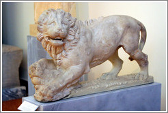 Lion from a funerary monument found in the ancient cemetery of Kerameikos, Athens, from 325-300 BC.  National Archaeological Museum.