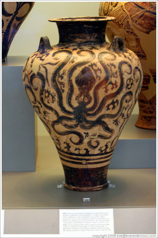 Minoan Palace-style amphora depicting an octopus from 15th century BC.  National Archaeological Museum.