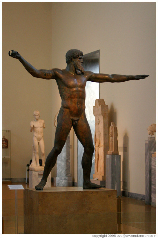 Statue of Zeus or Poseidon from 460 BC.   National Archaeological Museum.