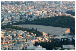 Panathinaiko (Παναθηναϊκό) Stadium, where the first modern Olympics were held in 1896, viewed from Mount Lycabettus (Λυκαβηττός).