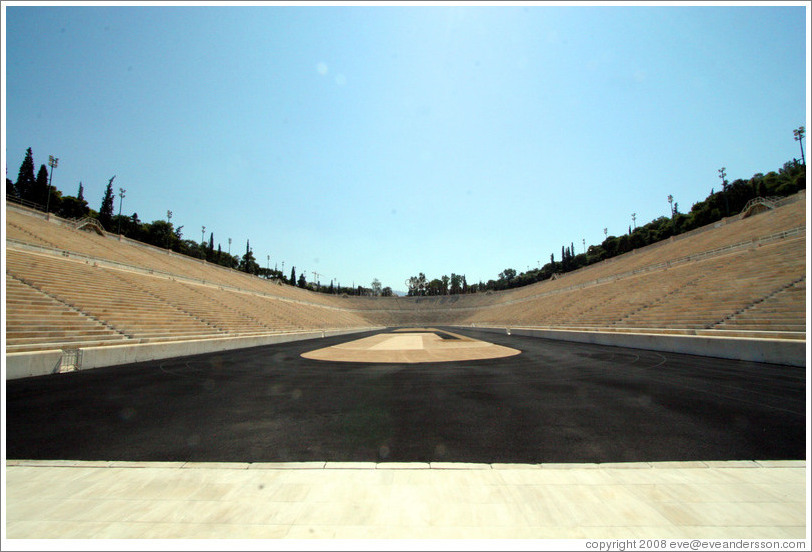Panathinaiko (Παναθηναϊκό) Stadium, where the first modern Olympics were held in 1896.