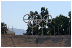 Olympic logo at the Panathinaiko (Παναθηναϊκό) Stadium, where the first modern Olympics were held in 1896.