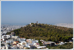 Philopappos (Φιλοπάππου) Hill, viewed from the Acropolis (Ακρόπολη).