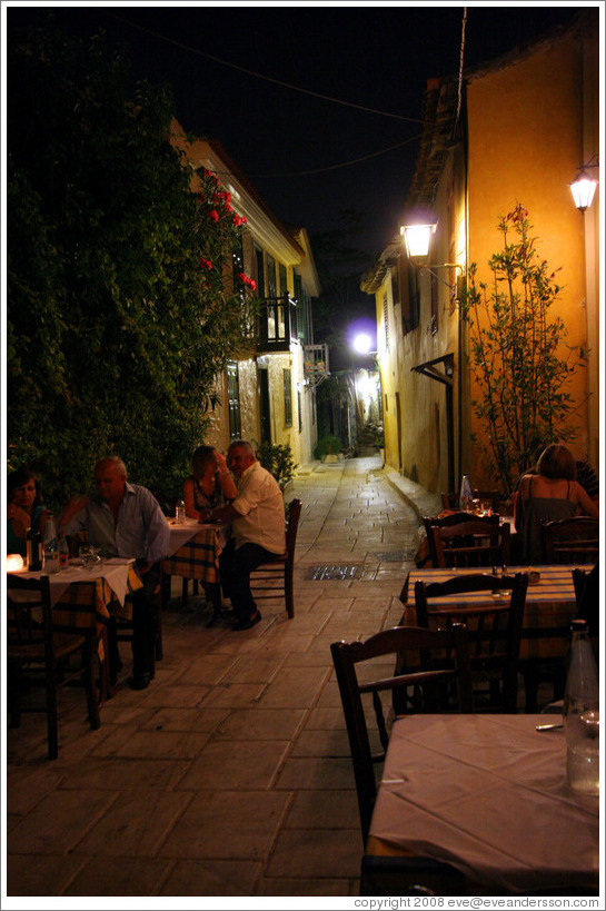 Plaka (Πλάκα), an old neighborhood in Athens, at night.