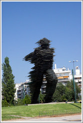 Statue of a running man.