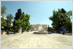 Syntagma (Σύνταγμα) Square, with the Greek Parliament in the background.