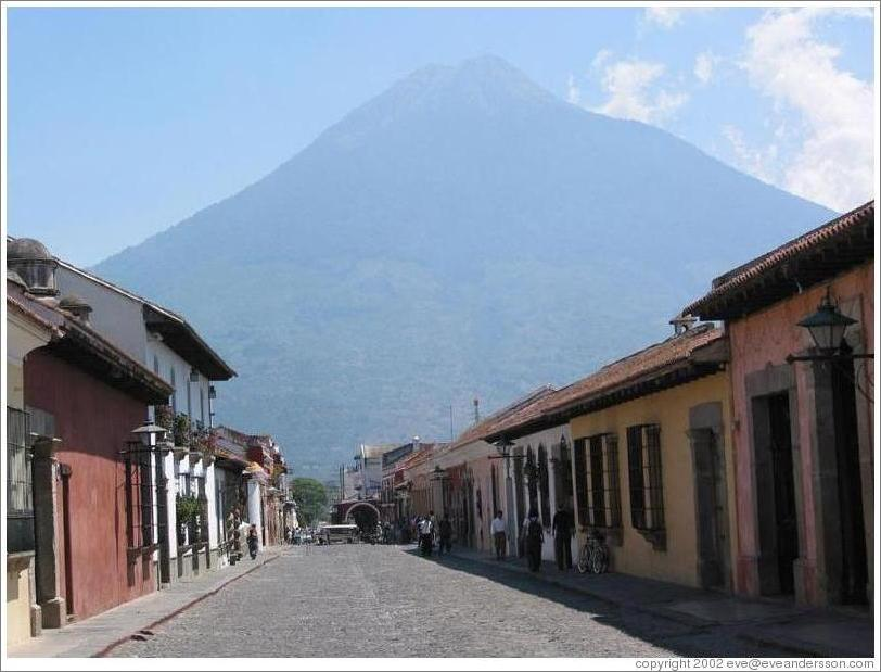 Antigua, Guatemala.  5a Avenida with Volcan Agua in the background