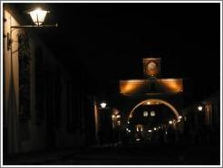 Antigua, Guatemala.  El Arco at night.