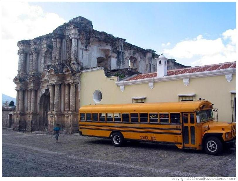 Ruins and school bus.