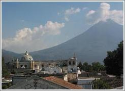 Antigua, Guatemala.  San Francisco ruins as viewed from the Santa Clara ruins.
