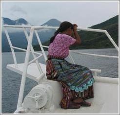 Girl on a boat in Lake Atitlan.