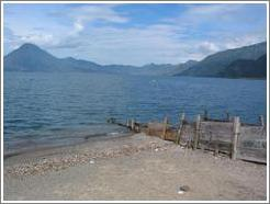 Dock extending into Lake Atitlan.