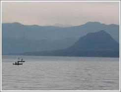 Two canoes on Lake Atitlan.