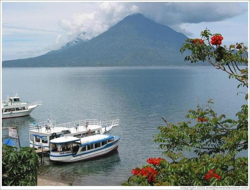 Lake Atitlan with Volcan Toliman behind.