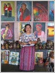 Woman selling artwork in Panajachel from Santiago (across the lake).