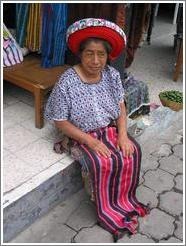 Woman wearing indigenous hat, Santiago.