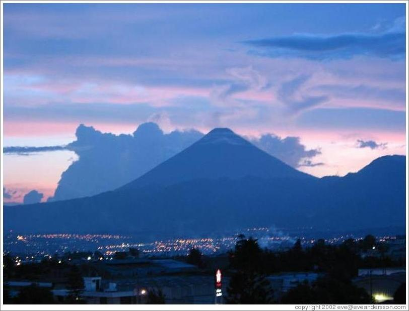 The view of Volcan Agua from my apartment in Guatemala.
