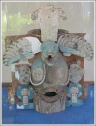 Tikal.  Ceramic face at the Ceramic Museum.