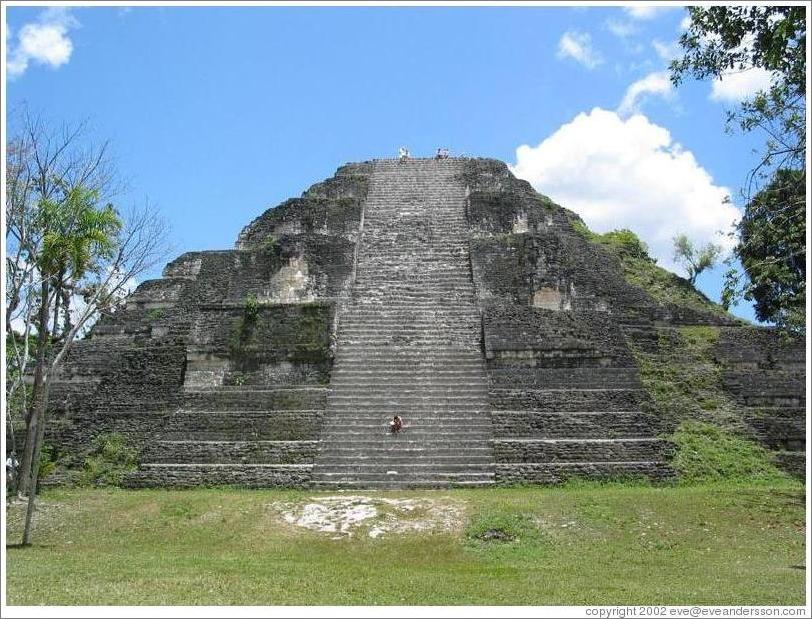 Tikal.  The large pyramid at Mundo Perdido.