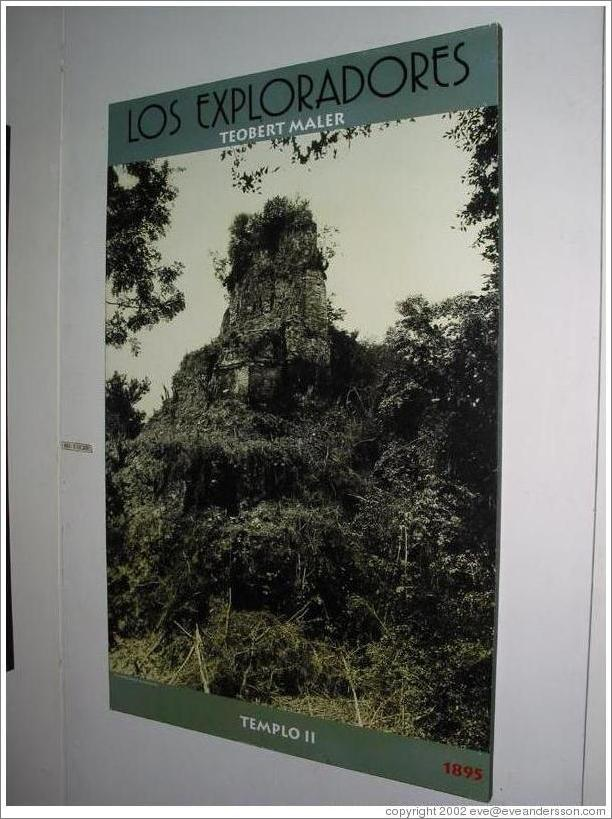 Tikal.  Picture of Templo II before restoration began. Museum at the Visitor's Center.