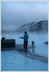 Woman serving drinks at the Blue Lagoon.