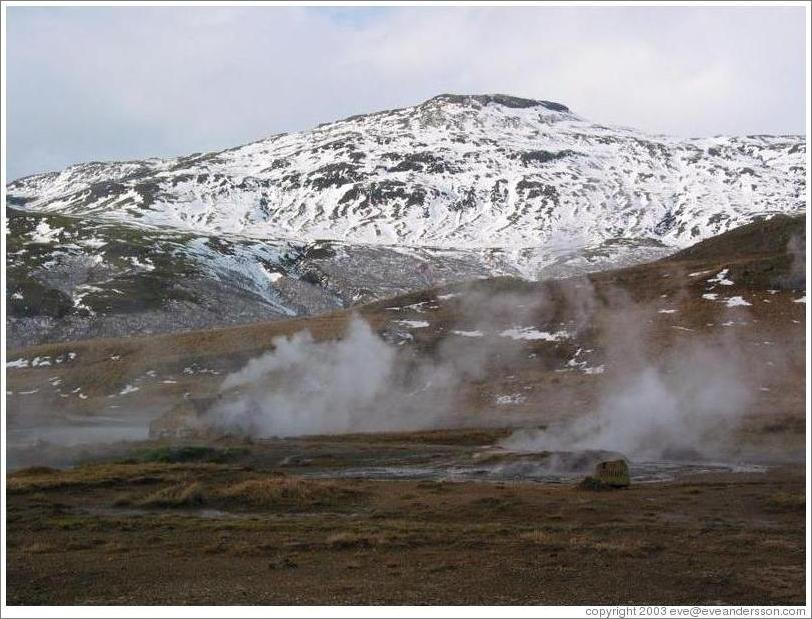 Steaming vents of hot steam near Geysir, the world's earliest known geyser.