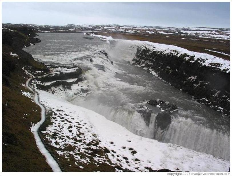 Gullfoss in the winter, an intricate waterfall and one of Iceland's top tourist destinations.
