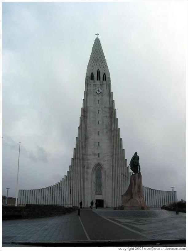 Hallgrímskirkja, a church completed in 1974, controversial for its modern architecture.