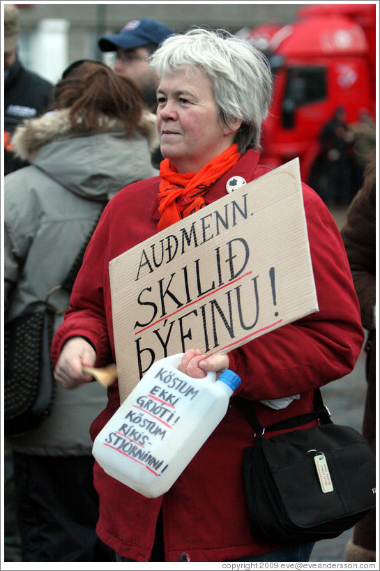 "Protest in Reykjavik.  The sign says ""Au?n. Skili?finu!"" (""Rich people. Return the swag!"") and the bottle says ""K?stum ekki grj?  K?stum r?s-stj?nni!"" (""Let's not chuck rocks! Let's chuck the government!"")."